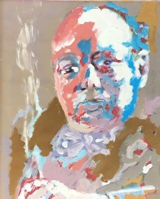Acrylic Painting Contemporary Impressionist Style Portrait Winston Churchill