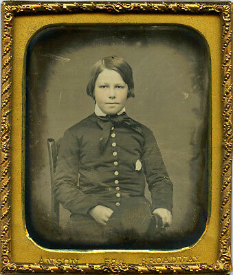 Rufus P. Anson New York City Daguerreotype of Young Lad in Military School Dress