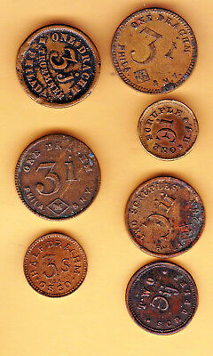 Seven Very Nice Apothecary Weight Tokens.  Some Tokens Very Old.