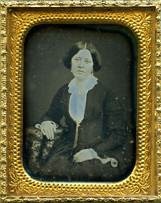 Early Seals Daguerreotype of a Young Lady in Dark Frock and Fine Gold Jewelry