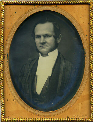 Rare ¼ Daguerreotype of a Dapper Priest or Judge w/ Muttonchops by Insley, NYC