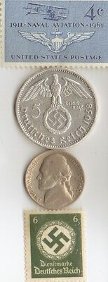 *WW2 *US and *german  SILVER  EAGLE(.900%,29 mm,4016 oz)-5 mk  coin / Stamp's+