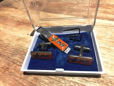 V Line Enamel Cuff Link and Tie Pin Set-In Original Case-1970-80's-Staff Only.
