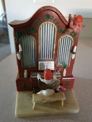 Vintage Angel Playing Silent Night On The Organ Music Box