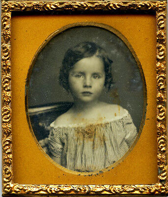 Sweet Sixteenth Daguerreotype of Young Child w/ Curls & Off-the-Shoulder Outfit