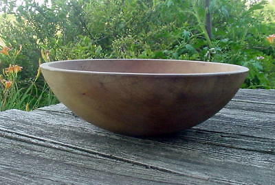 "Antique Primitive Turned Wood Dough Bowl - 12 1/2""  - Out Of Round - Original"
