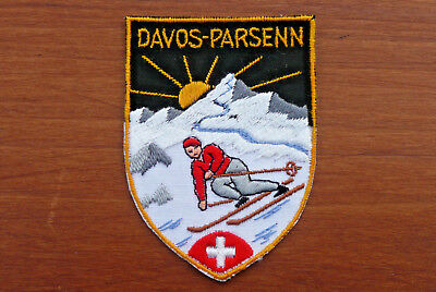 Davos - Parsenn Switzerland Swiss Alpine Ski Resort Area Vintage Sew-On Patch