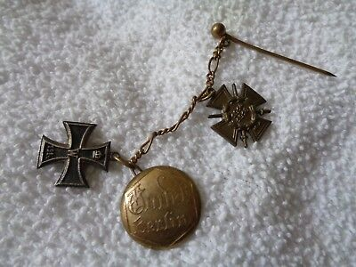 Antique WWI German Iron Cross 1813 1914 Berlin Button Set of 3 w Pin