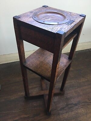 Mission, Arts and Crafts  Stickley Style Oak & Copper Deer Smoke Stand w Striker