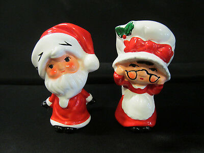 Vintage Porcelain Salt & Pepper Shakers, Santa & Mrs Claus, Made in Japan
