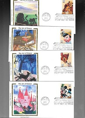 Us Fdc  # 3865 3868 Art Of Disney 2004  Set Of 4 By Colorano Silk