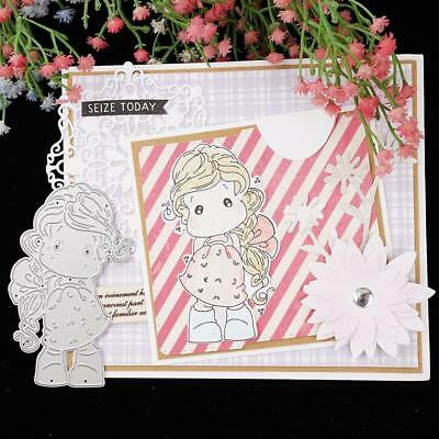 Lovely Girl Cutting Dies Stencil DIY Scrapbook Album Card Embossing Template