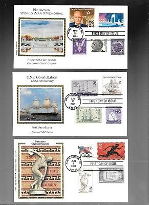Us Fdc  Collection Lot Of 6 With Combo  2004  By Colorano Silk