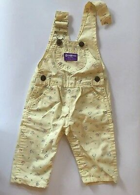 vintage oshkosh overalls Girl Yellow Floral 6/9 Months READ DESCRIPTION