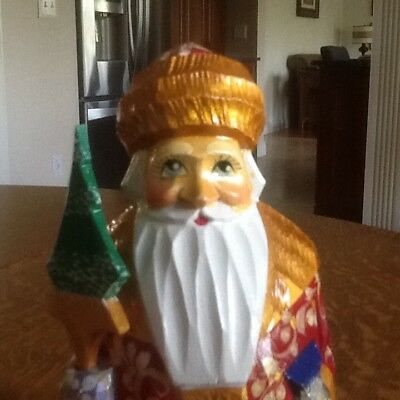 russian hand carved hand painted wooden Santa clause
