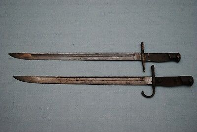 2 WW2 Japanese T-30 Bayonets Missing Grip Plates
