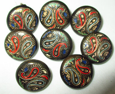 SET 8 ANTIQUE ART NOUVEAU INCISED PAINTED METAL BUTTONS w PAISLEY DESIGN  11/16""
