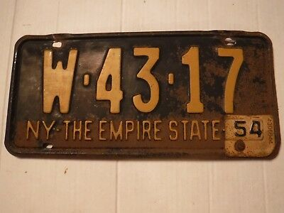 Vintage New York The Empire State License Plate 1954