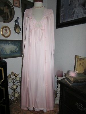 vtg Miss Elaine Pink Peignoir Set Keyhole Nightgown Lace Dressing Gown Robe S