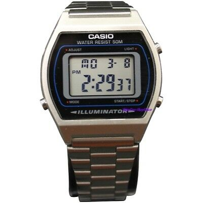 Casio Men's Silver Digital Retro Stainless Steel Watch B640WD-1A