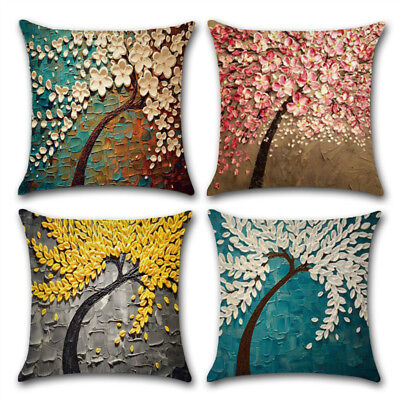 4 Pack Cotton Linen Throw Pillow Case Oil Painting Cushion Cover 45x45cm/18x18in