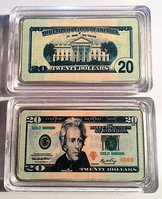 New $20.00 USA New Note 1 oz Ingot 999 Silver Plated/Colour Printed in Capsule