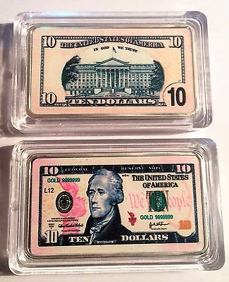 New $10.00 USA New Note 1 oz Ingot 999 Silver Plated/Colour Printed in Capsule