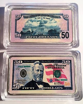 New $50.00 USA New Note 1 oz Ingot 999 Silver Plated/Colour Printed in Capsule