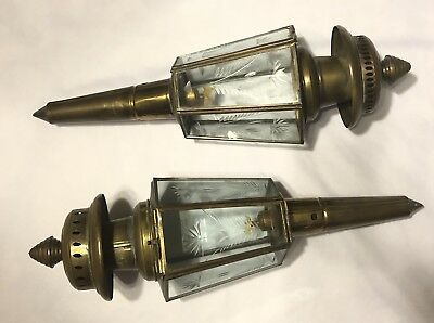 Vintage Brass Oil Lamp Pair Etched Glass Wall Sconces Coach Buggy Antique Style