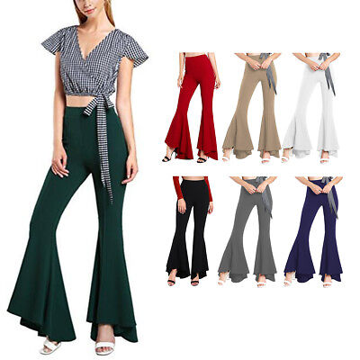 Women 70s Bell Bottoms Wide Leg Pants Palazzo Pant Boho Hippie Flare OL Trousers