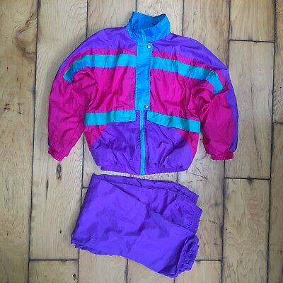 Slade Vtg 90s Womens Nylon Track Leisure Suit 2pc Teal Purple Pink M S