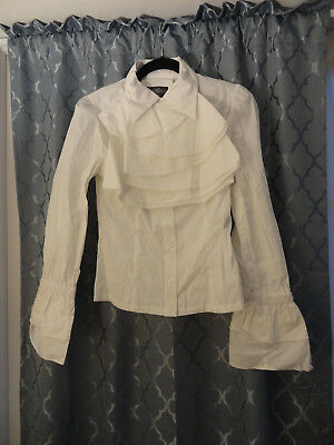 Dracula Clothing White Cravat Victorian Edwardian Aristocrat Fancy Shirt S/M