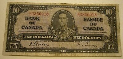 1937 BANK OF CANADA $ 10 TEN DOLLARS GORDON TOWERS Banknote