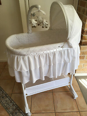 Childcare Chloe Rocking Bassinet Double Skirt - White + Extra Thick Mattress