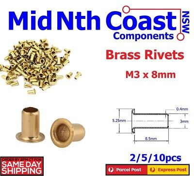 2/5/10pc M3 x 8mm Natural Brass Rivets/Eyelets/Grommets PCB Vias Leather Work