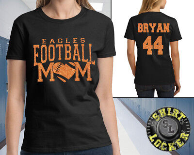 93fc0e852 Personalized Glitter Football Mom Womens Shirt Spirit Wear With Team Name