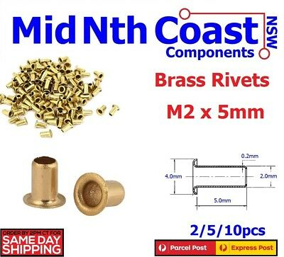 2-10pc M2 x 5mm Natural Brass Eyelets/Grommets/Rivets PCB Vias, Leather Work