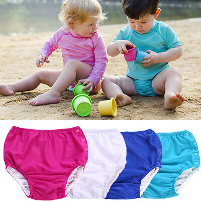 Solid Baby Toddler Boy Girl Snap Reusable Absorbent Swimming Nappies Diaper