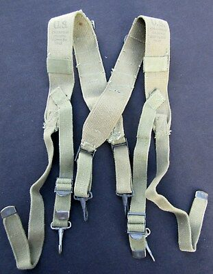 WWII KW US ARMY M1945 Combat Suspenders. CHAMPION CANVAS 1945.  Near MINT!
