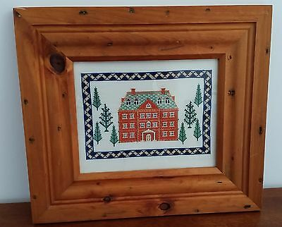 GEORGIAN MANOR HOUSE Handworked CROSS STITCH in RUSTIC WOOD FRAME 41cm x 36.5cm