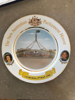 Commemorative Plate, HM QEII and HRH opening of Parliament House 1988
