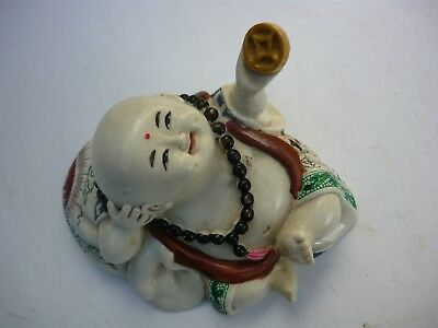 An interesting Baby Buddha - perfect condition, well made, colourful, antique?