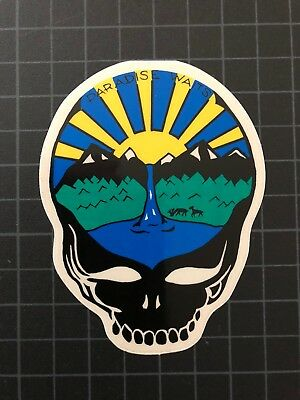 Grateful Dead Jerry Garcia SYF PARADISE WAITS STEAL YOUR FACE sticker clear 1988