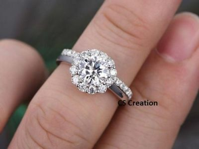 2Ct White Round Cut Diamond Forever Brilliant Engagement Ring 14K White Gold