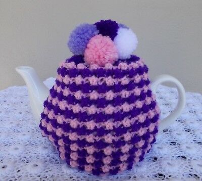 "Hand Knitted ""pink & Purple Pom Pom"" Tea Cosy."