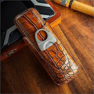 COHIBA Genuine Leather Cigar Travel Holder Case 2 Count With Cigar Cutter