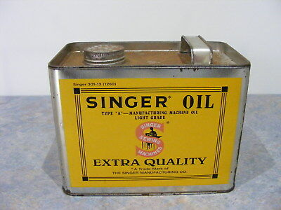 Vintage Large Singer Advertising Oil Can Celebrating 150 Years In Production