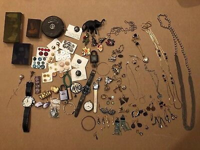 junk drawer lot -Jewelry, Watches, Old Printing Plates, Locks and More!