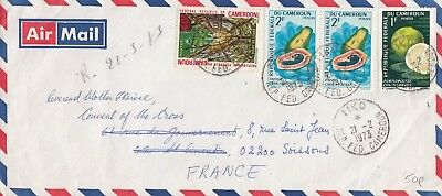 G 2888 Tiko Cameroons Feb 1973 air cover France, 4 stamps