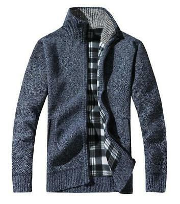 Men's Wool Cardigan Sweaters Thick Stand Collar Pullover Full Sleeves
